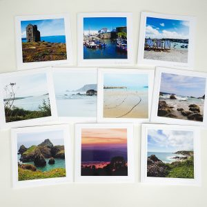 Photograph by Jane Mucklow of ten greetings cards of the Cornish coast, photographs by Jane Mucklow.