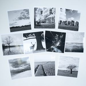 Photograph by Jane Mucklow of ten greetings cards of black and white landscape photographs by Jane Mucklow.