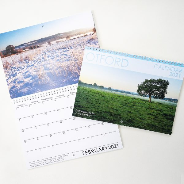 Photo of the Otford 2021 Calendar by Jane Mucklow, showing the cover and example of the inside.