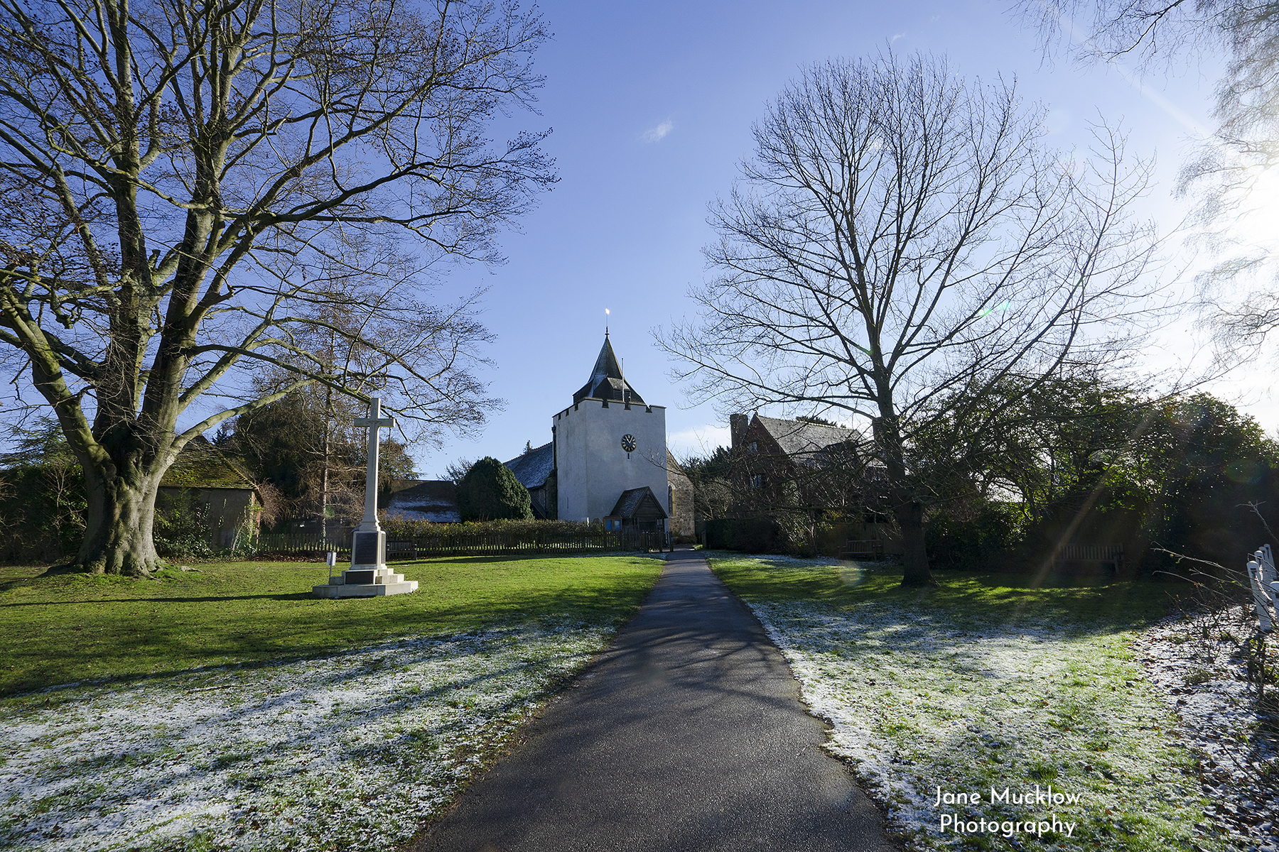 Photograph by Jane Mucklow of St. Bart's Otford, with a scattering of snow