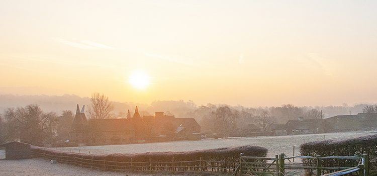 Photography by Jane Mucklow of a frosty sunrise over Filston Oasts, Shoreham, Kent