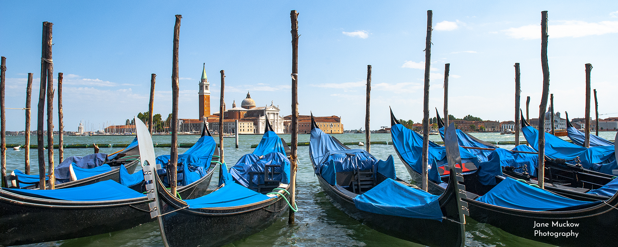 Photo by Jane Mucklow of gondolas in Venice, available as a canvas for your wall.