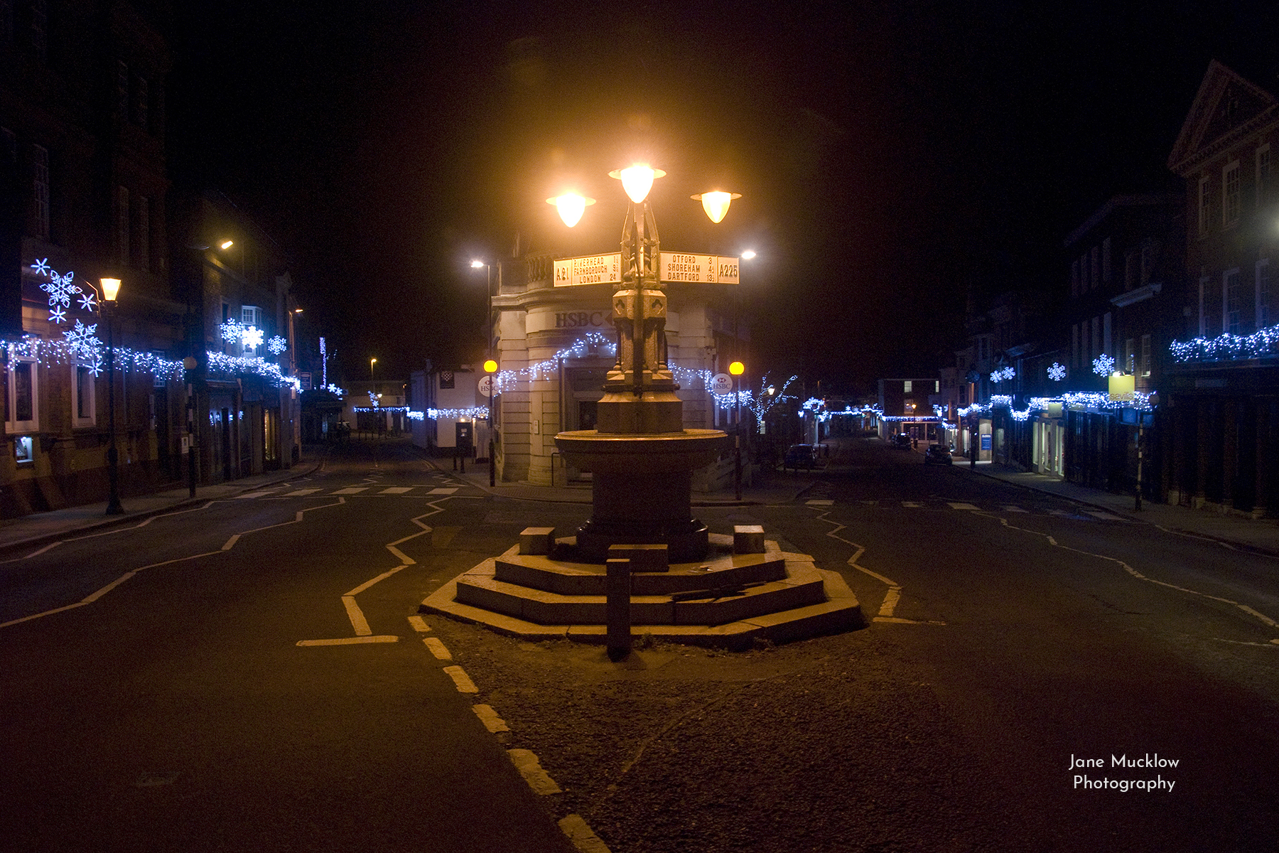 Photo by Jane Mucklow of the Christmas lights at the top of Sevenoaks high street, Kent.