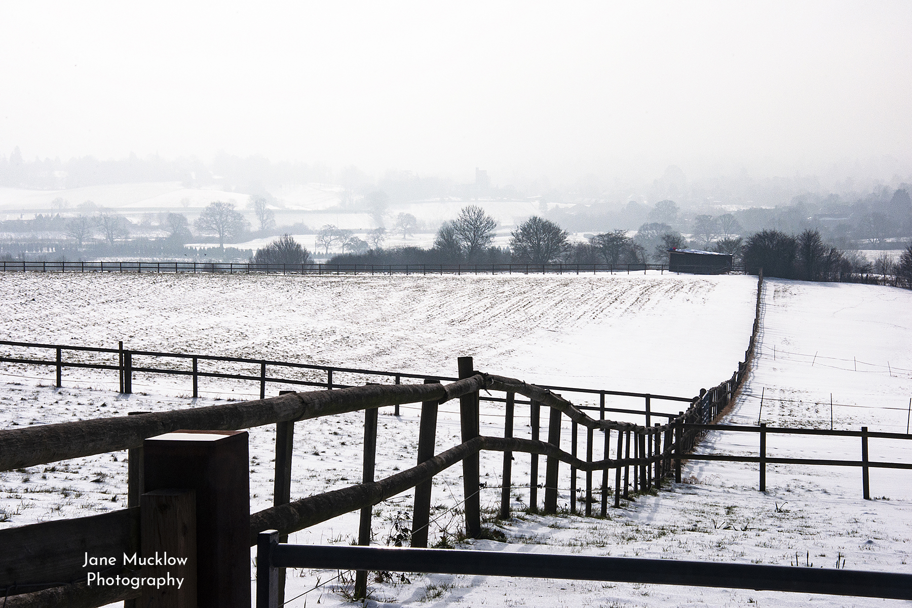 Photo by Jane Mucklow, snowy view from Kemsing to Seal and Sevenoaks, Kent