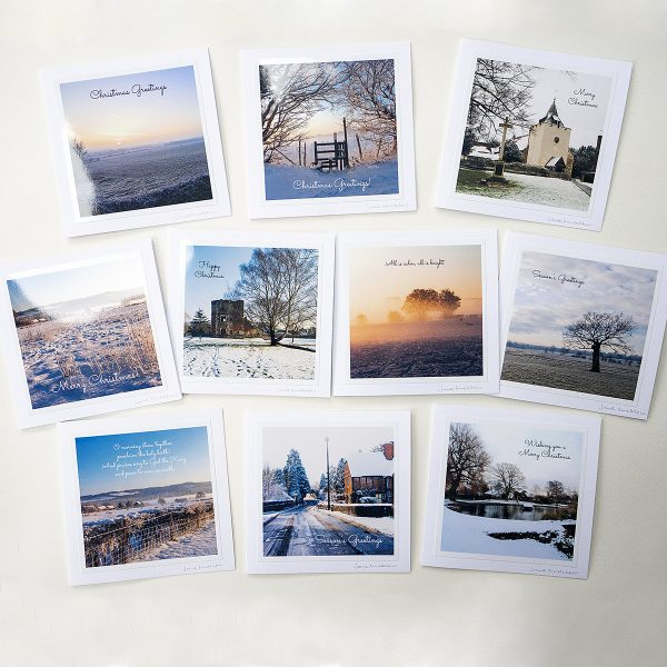A pack of Otford Christmas Cards with local photos of winter views by Jane Mucklow
