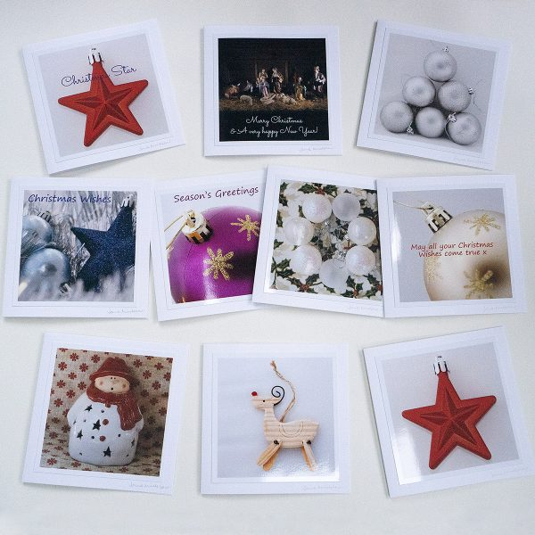 A pack of Christmas Cards with photos of Christmas decorations by Jane Mucklow