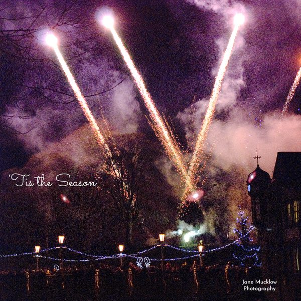 Tonbridge Christmas Card by Jane Mucklow, photo of the Christmas fireworks over the big bridge