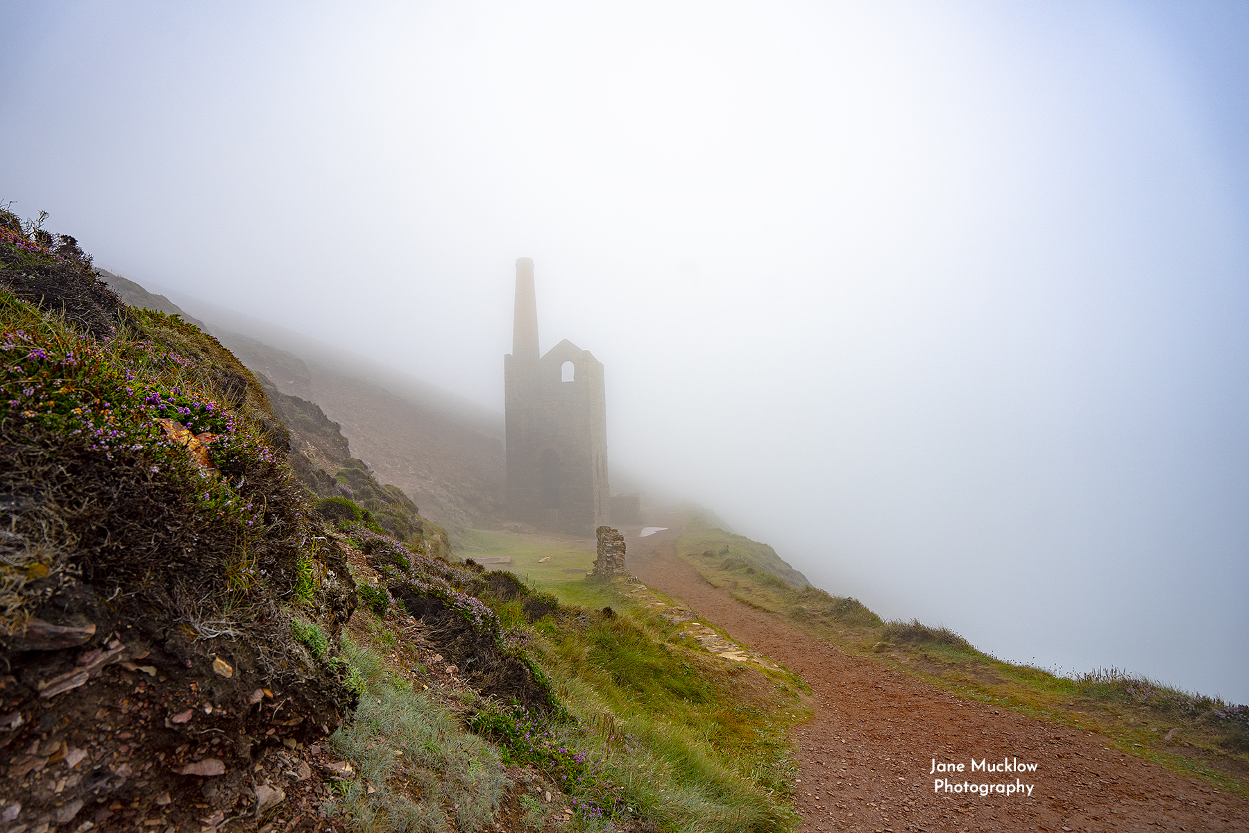 Photo of Wheal Coates in the mist St Agnes Cornwall by Jane Mucklow
