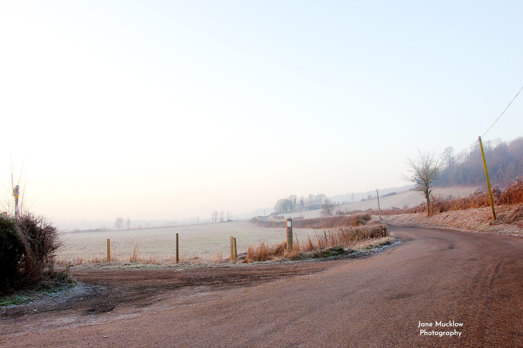 Photo of a frosty sunrise view on Filston Lane, by Jane Mucklow