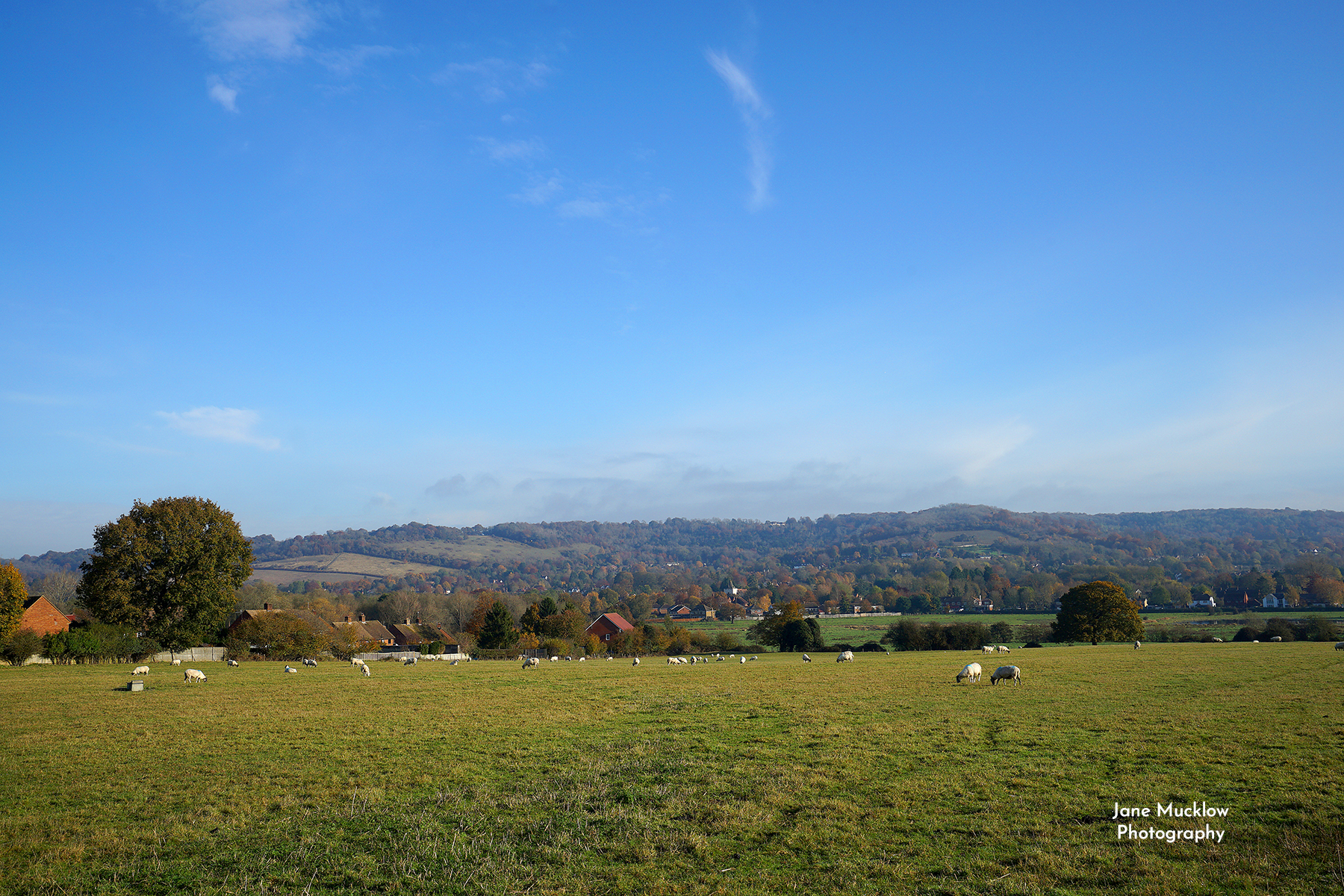 Photo of the view to Otford from Rye Lane fields, by Jane Mucklow