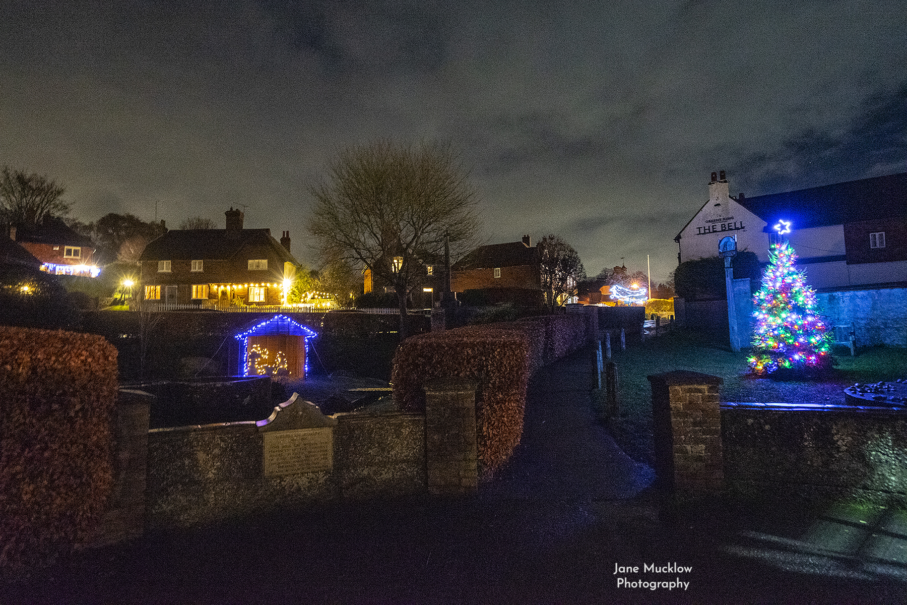 Photo of the Christmas lights and tree in Kemsing, by Jane Mucklow