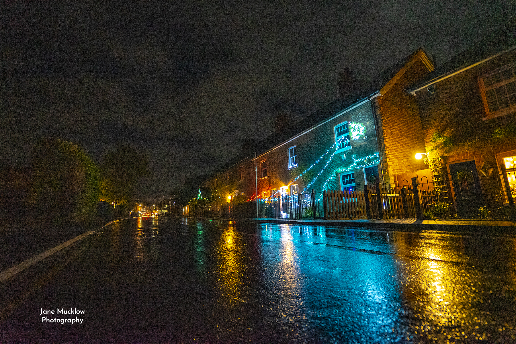 Photo of Otford High Street with Christmas lights, by Jane Mucklow