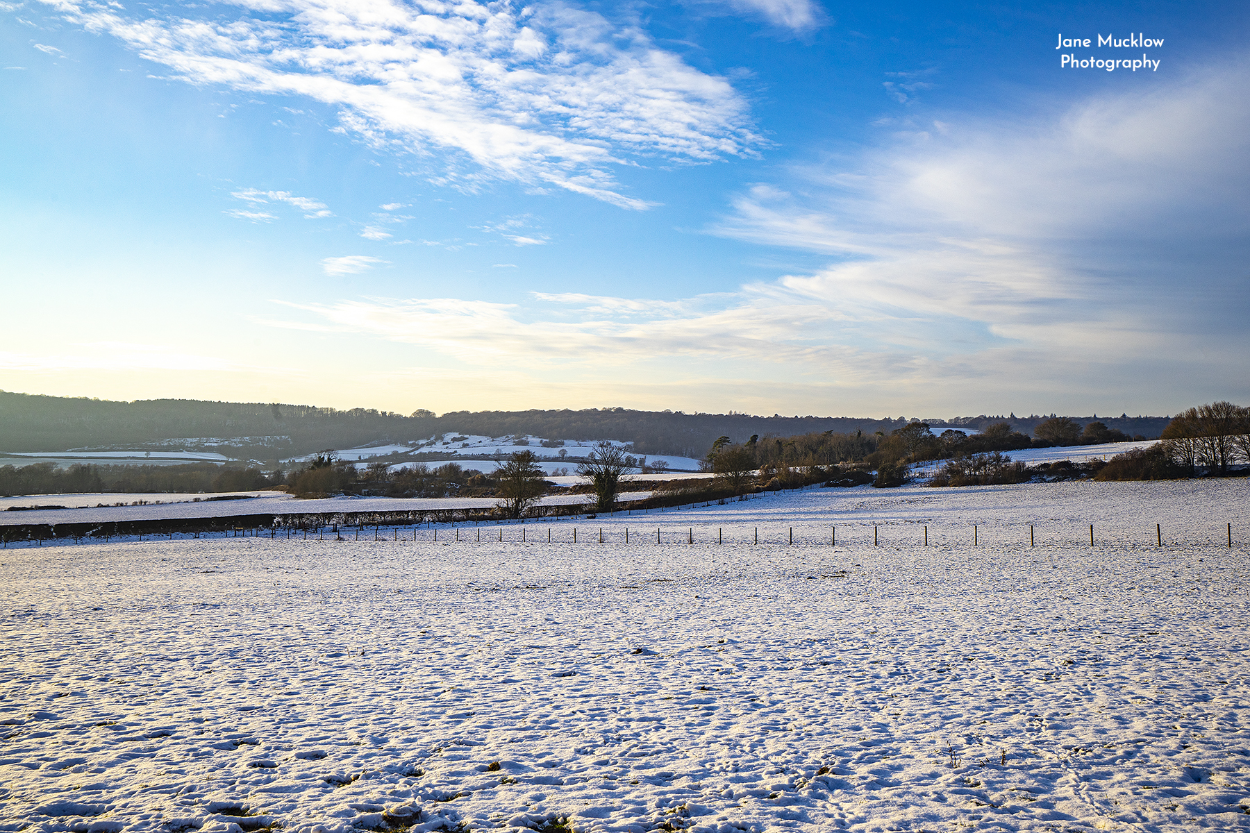 Photo of a snowy view to Shoreham from Otford, by Jane Mucklow