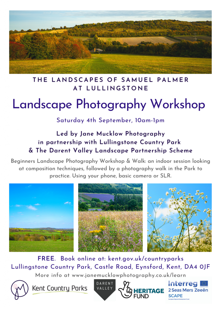 Poster by Jane Mucklow Photography for landscape photography workshop at Lullingstone Country Park, Sept 4th 2021