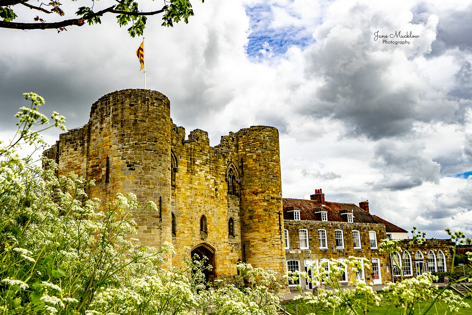 Photo of Tonbridge Castle, clouds and cow parsley, by Jane Mucklow
