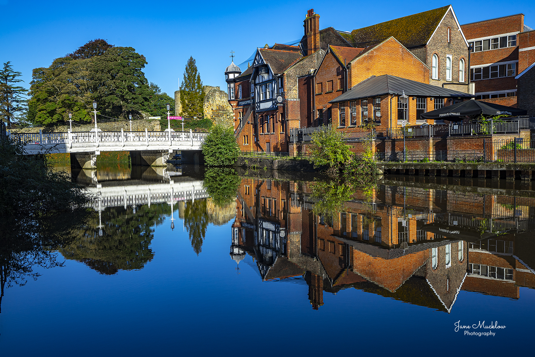 Photo of reflections in the River Medway of the Big Bridge, Tonbridge, by Jane Mucklow