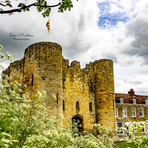 Photo of Tonbridge Castle with clouds and cow parsley, by Jane Mucklow