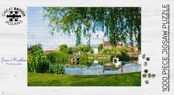Jigsaw puzzle image of photo of Otford Pond with summer morning reflections, by Jane Mucklow Photography