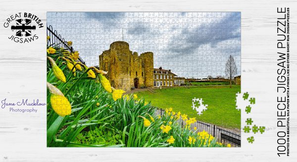 Jigsaw puzzle image of photo of Tonbridge Castle, Daffodils & Clouds, by Jane Mucklow Photography